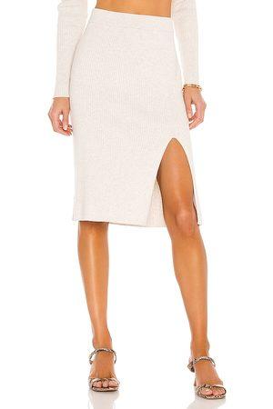 Bobi BLACK Fine Cotton Sweater Skirt in Ivory.
