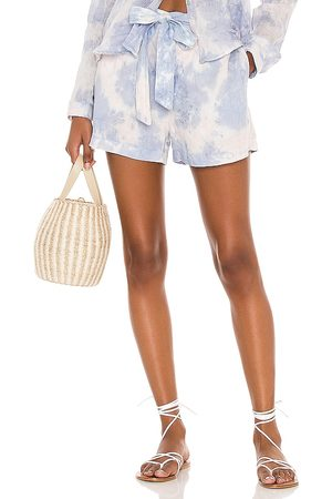 Bella Dahl Belted Button Front Shorts in Blue.