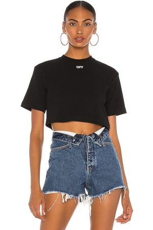 OFF-WHITE Women T-shirts - Rib Cropped Casual Tee in .