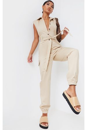 PRETTYLITTLETHING Stone Sleeveless Shoulder Pad Button Front Cargo Jumpsuit