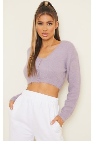 PRETTYLITTLETHING Lilac Eyelash Knit Cropped Cardigan