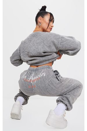 PRETTYLITTLETHING Light Grey Los Angeles Washed Joggers