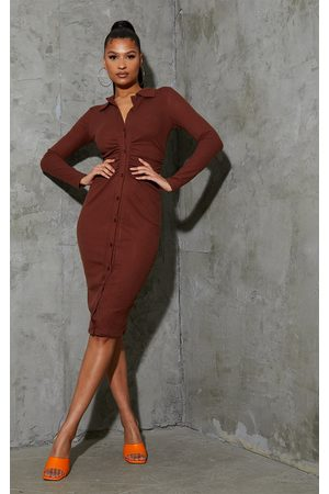 PRETTYLITTLETHING Women Long sleeves - Chocolate Brushed Rib Long Sleeve Ruched Midi Shirt Dress