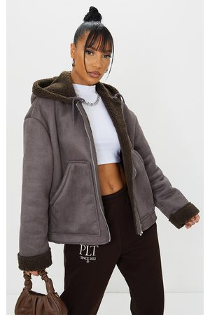 PRETTYLITTLETHING Women Leather Jackets - Charcoal Faux Suede Borg Lined Hooded Jacket
