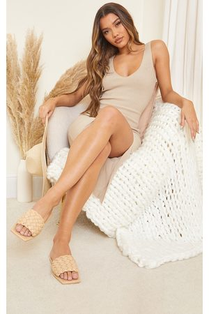 PRETTYLITTLETHING Nude Real Leather Square Toe Chunky Basket Weave Mule Sandals