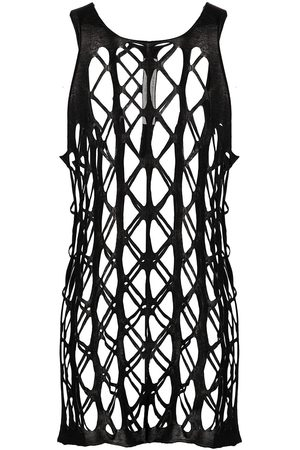 Rick Owens Cut-out net cotton tank top