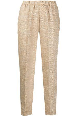 FORTE FORTE Chevron-knit straight-leg trousers - Neutrals