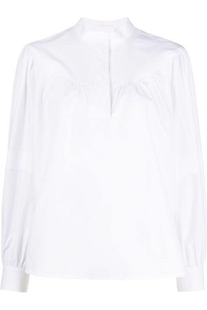 See by Chloé Gathered-detail long-sleeve blouse