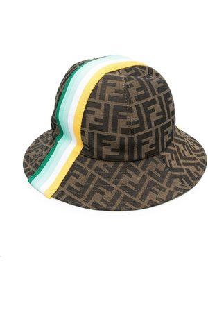 Fendi Boys Hats - FF-logo striped sun hat - Neutrals