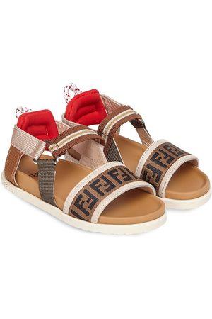 Fendi Logo-print touch-strap sandals