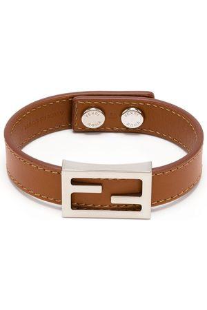 Fendi Baguette logo leather bracelet
