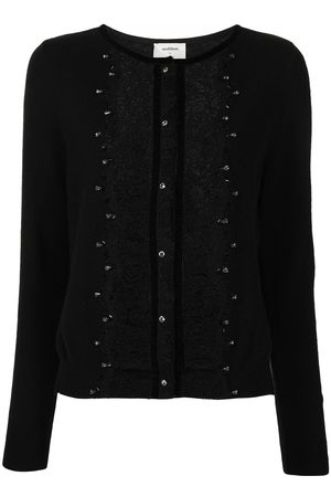 Onefifteen Lace-embroidered cashmere-blend cardigan