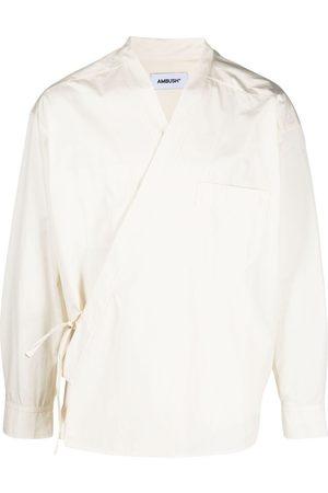 AMBUSH Wrap-front kimono shirt - Neutrals
