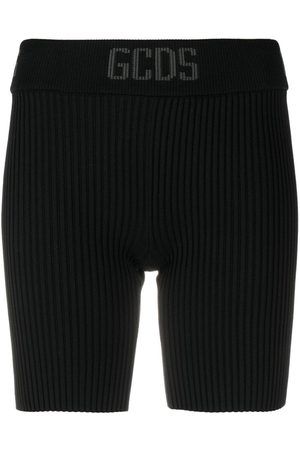 GCDS Women Shorts - Ribbed-knit cycling shorts