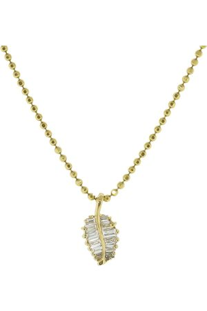 Anita Beaded chain palm leaf necklace