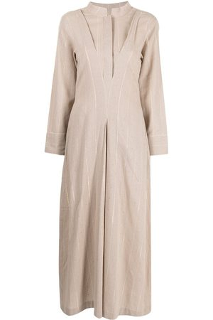 Bambah Pinstriped-pattern kaftan dress - Neutrals