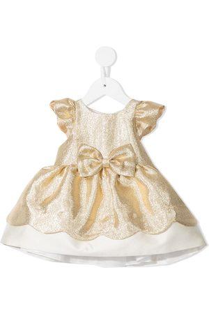 HUCKLEBONES LONDON Baby Casual Dresses - Metallic-tone bow-detail dress