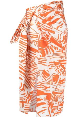Msgm Abstract-print draped skirt
