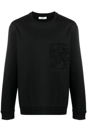 VALENTINO Lace-detail logo-print sweatshirt