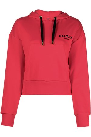 Balmain Cropped logo print hoodie