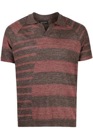 Roberto Collina Men Polo Shirts - Irregular stripe polo shirt