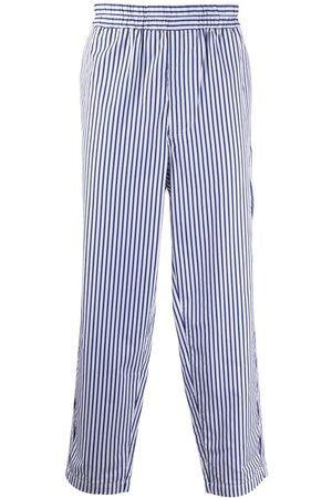 Comme des Garçons Elasticated pinstripe straight-leg trousers
