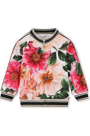 Dolce & Gabbana Floral-print zip-up sweatshirt - Neutrals