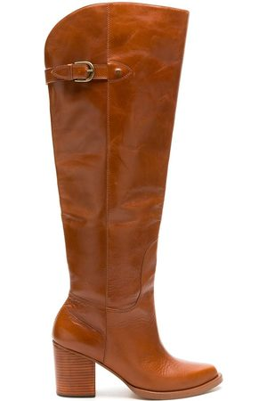 NK Women Thigh High Boots - Leather over-the-knee boots