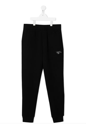 Emporio Armani TEEN embroidered tracksuit bottoms