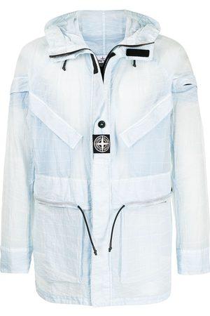 Stone Island Logo-patch sheer hooded jacket