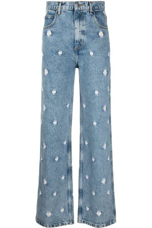 Sandro Floral wide-leg jeans