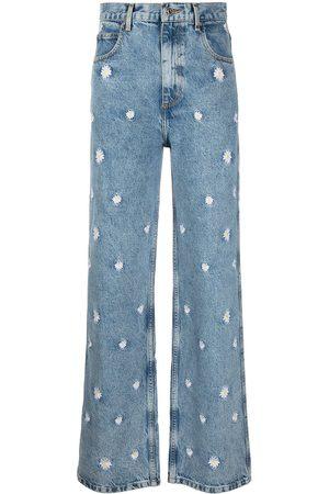Sandro Paris Women Straight - Floral wide-leg jeans