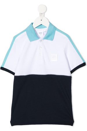 HUGO BOSS Logo-print panelled polo shirt