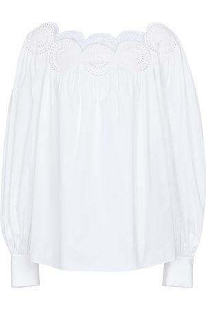 Alaïa Laser-cut cotton poplin blouse