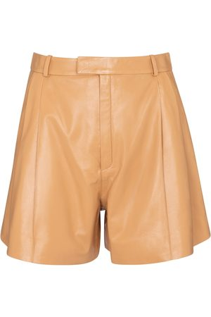 Zeynep Arcay High-rise pleated leather shorts