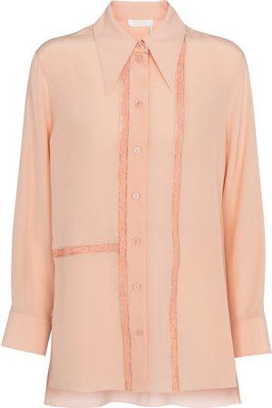 Chloé Lace-trimmed silk blouse