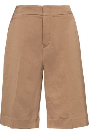 Vince Linen and cotton-blend Bermuda shorts