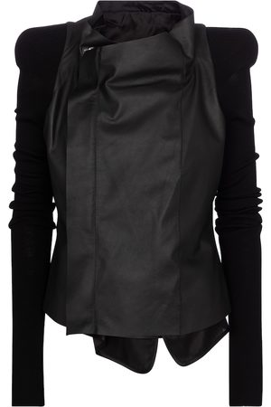 Rick Owens Women Leather Jackets - Leather and wool jacket
