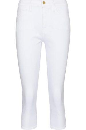Frame High-rise denim biker shorts