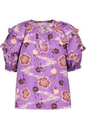 ULLA JOHNSON Mari floral cotton poplin blouse