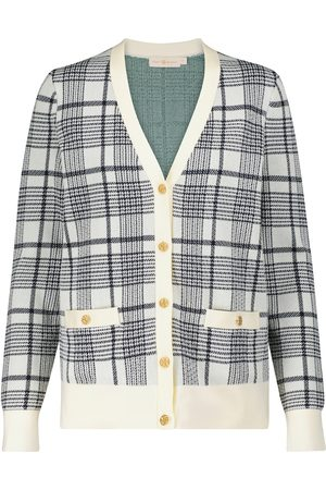 Tory Burch Madeleine checked merino wool jacquard cardigan