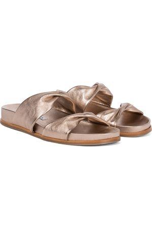 Aquazzura Twist Footbed leather slides