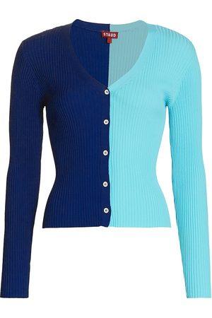 Staud Women Cardigans - Women's Cargo Colorblock Cardigan - Twilightlight - Size XL