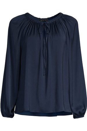 Kobi Halperin Women Blouses - Women's Caprice Puff-Sleeve Peasant Blouse - Midnight - Size XXL