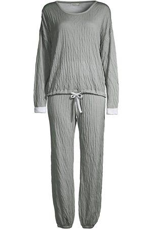 Barefoot Dreams Women Sweatpants - Women's The Malibu 2-Piece Crinkle Jersey Sweatshirt & Sweatpants Set - Waterfall Sea Salt - Size XS