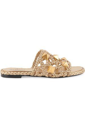 VALENTINO Women's Garavani Roman Stud Woven Metallic Leather Slides - Star - Size 7.5 Sandals