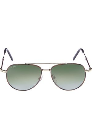 Salvatore Ferragamo Men Aviators - Men's 58MM Aviator Sunglasses - Tortoise