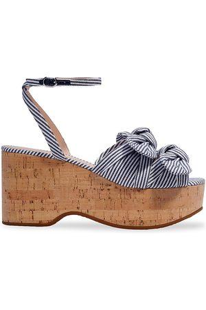Kate Spade Women Sandals - Women's Stripe Julep Ankle-Strap Platform Wedge Sandals - Parchment - Size 8.5