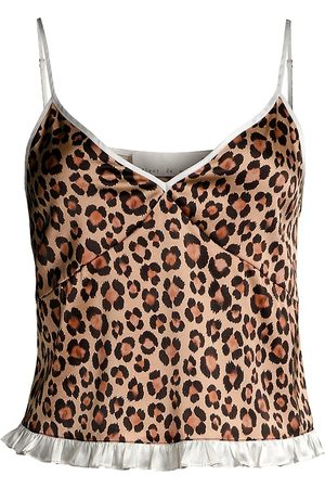 FLEUR DU MAL Women Socks - Women's Leopard Ruffle-Hem Stretch-Silk Camisole - Leopard Print - Size Small