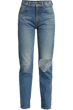 RE/DONE Women's 70S Straight-Leg Distressed Jeans - Daring Indigow Rip - Size 30